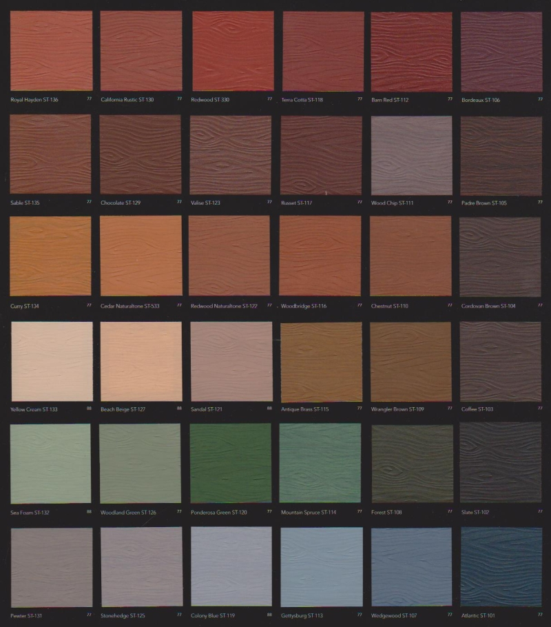 BEHR Color Chart for the Bird Barrel Bungalows